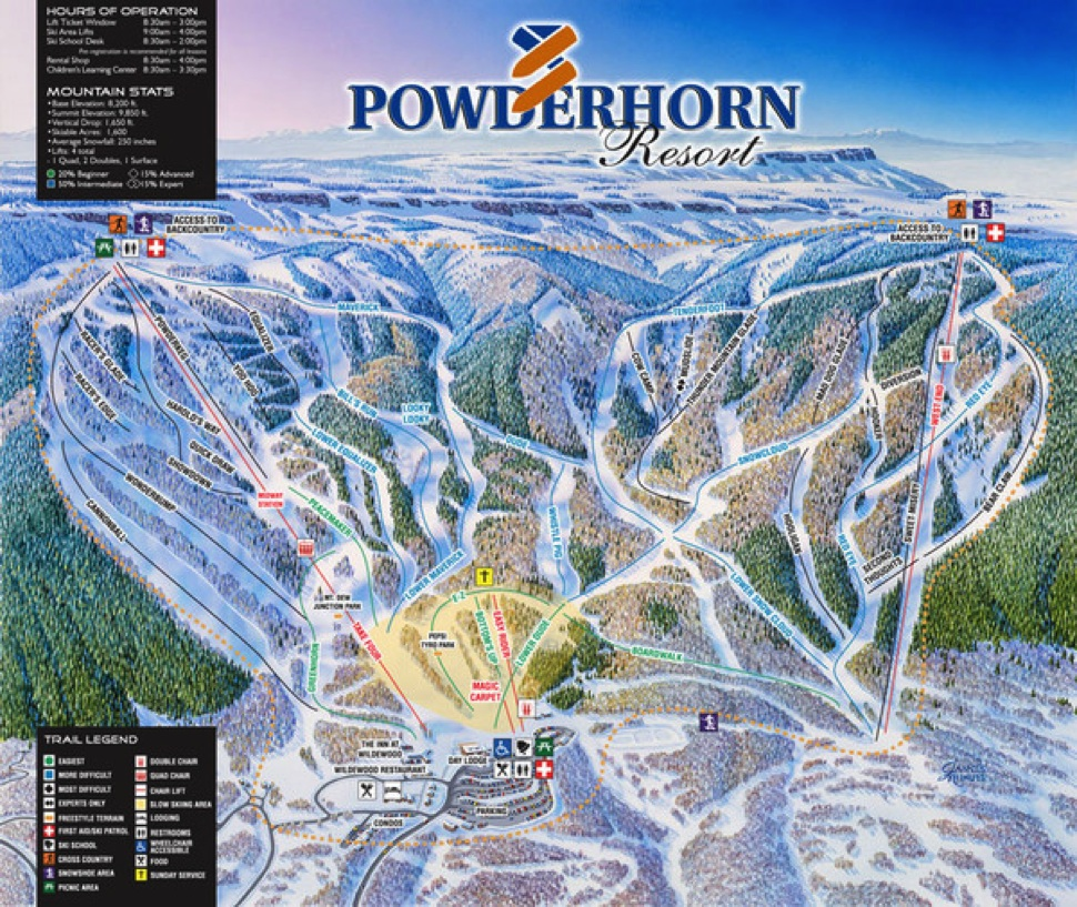 powderhorn mountain resort trail map | colorado ski resort maps